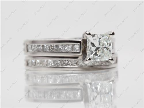 Platinum 1.01 Princess cut Wedding Sets