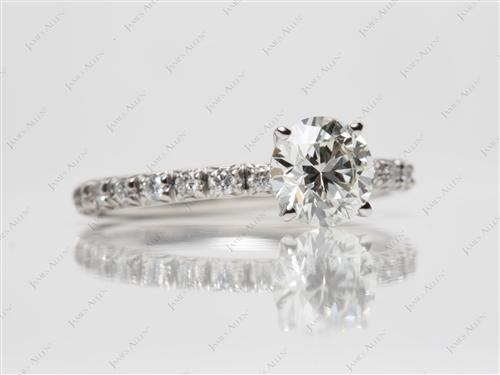 Platinum 1.06 Round cut Pave Engagement Rings