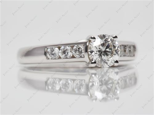 White Gold 0.59 Round cut Channel Rings