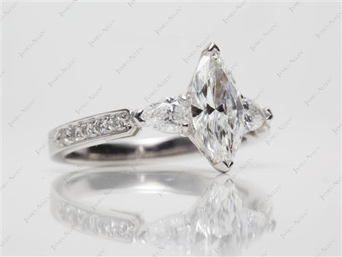 Platinum 1.01 Marquise cut Engagement Rings Side Stones