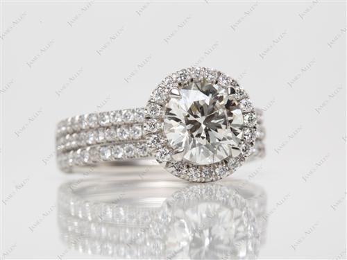 Platinum 1.71 Round cut Pave Ring Set