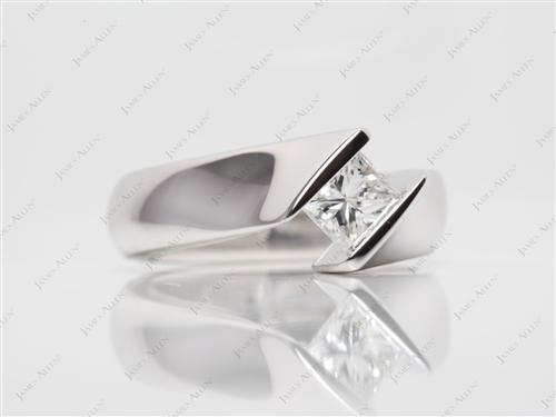 White Gold 0.70 Princess cut Tension Set Engagement Ring