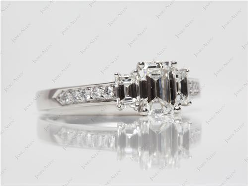 Platinum 0.92 Emerald cut Diamond Rings