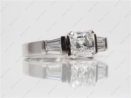 Platinum 1.20 Asscher cut Diamond Ring