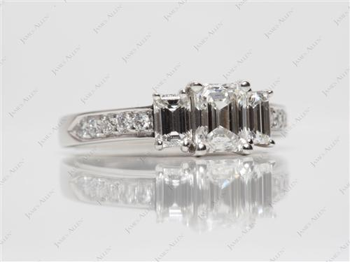 Platinum 0.73 Emerald cut Diamond Ring With Sidestones