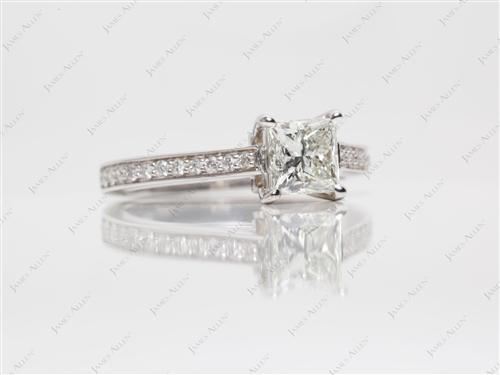 White Gold 1.00 Princess cut Engagement Ring Micro Pave