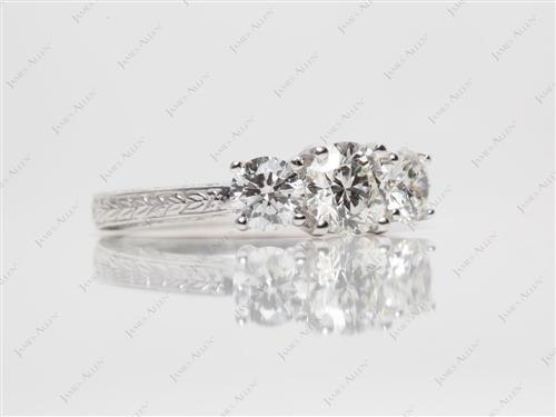 White Gold 0.67 Round cut Engagement Ring With Sidestones