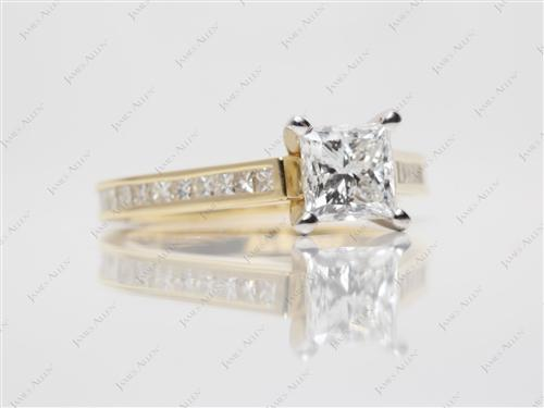 Gold 1.00 Princess cut Channel Diamond Ring
