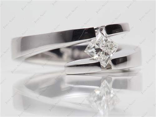 White Gold 0.76 Princess cut Tension Set Engagement Rings