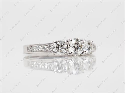 White Gold 0.42 Round cut Three Stones Diamond Rings