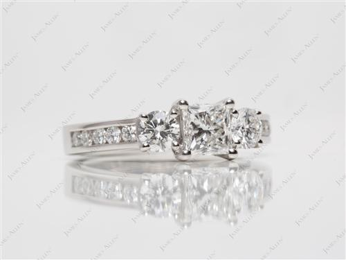 Platinum 0.77 Princess cut Three Stones Ring