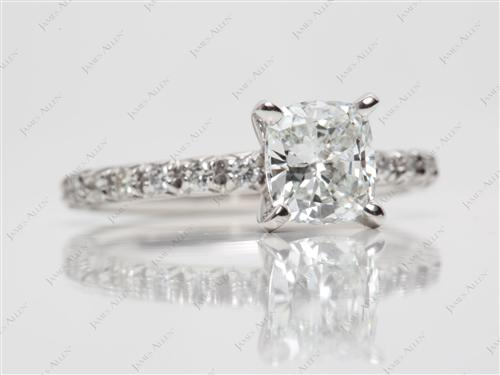 Platinum 1.01 Cushion cut Engagement Rings