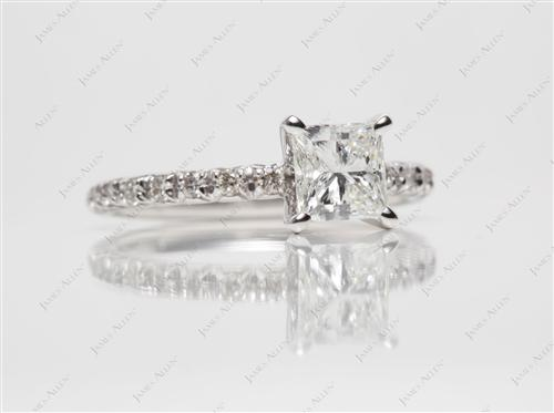 White Gold 1.01 Princess cut Pave Ring Mountings