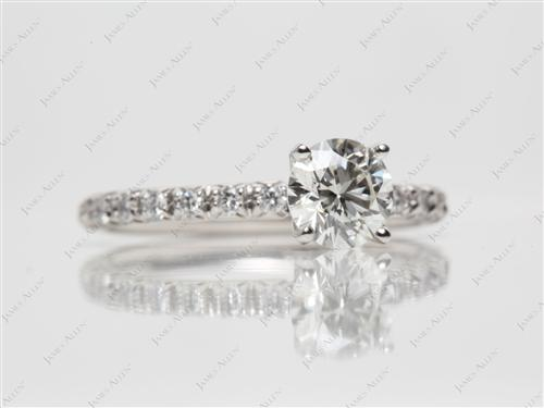Platinum 0.81 Round cut Pave Engagement Rings