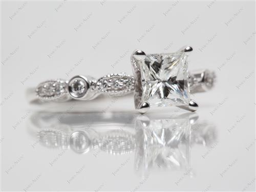 White Gold 1.01 Princess cut Side Stone Engagement Ring
