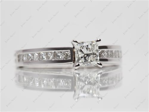 White Gold 0.62 Princess cut Channel Setting Engagement Rings
