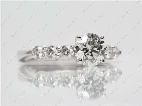 White Gold 0.91 Round cut Side Stone Engagement Ring
