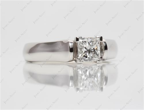 Platinum 0.75 Princess cut Solitaire Engagement Ring
