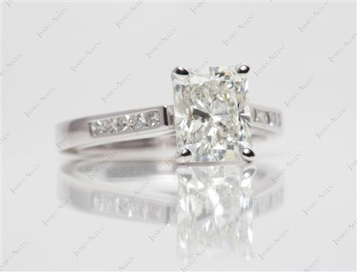 White Gold 2.01 Radiant cut Channel Set Diamond Engagement Ring