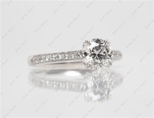 White Gold 0.91 Round cut Engagement Ring Micro Pave