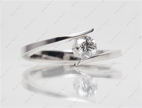 White Gold 0.46 Round cut Solitaire Ring Settings