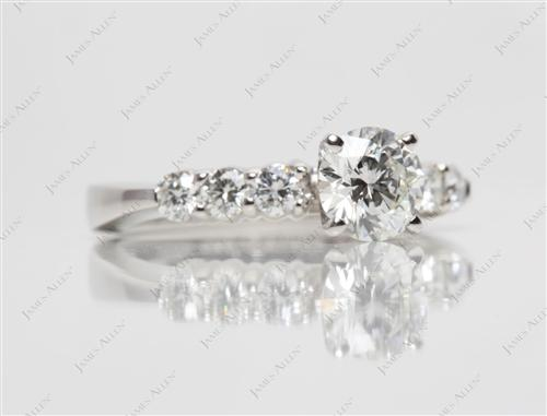 Platinum 0.80 Round cut Diamond Ring With Side Stones