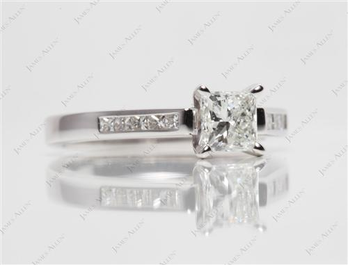 White Gold 0.73 Princess cut Channel Set Diamond Band