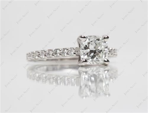Platinum 1.01 Cushion cut Engagement Ring With Sidestones