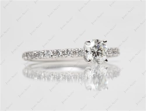 White Gold 0.55 Round cut Pave Engagement Rings