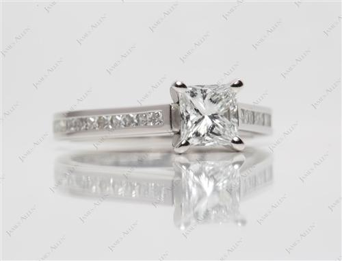 Platinum 0.85 Princess cut Diamond Channel Ring