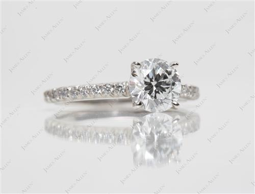 Platinum 1.05 Round cut Engagement Rings Pave