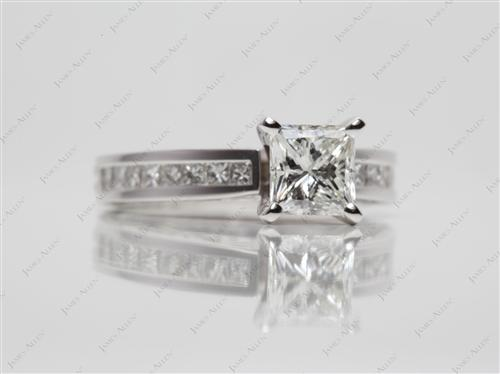 White Gold 1.03 Princess cut Channel Set Diamond Engagement Ring