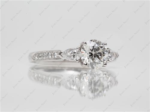 White Gold 1.20 Round cut Engagement Rings Side Stones