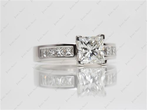 Platinum 1.63 Princess cut Channel Set Eternity Rings