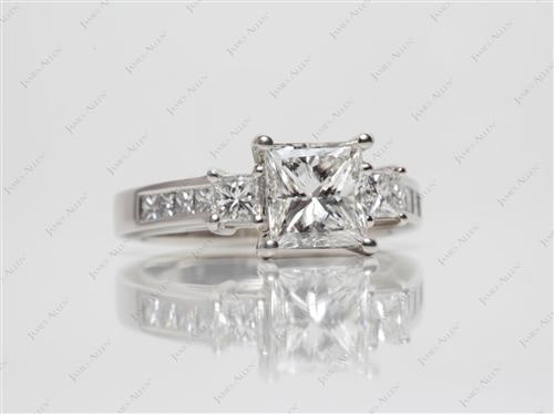 Platinum 1.59 Princess cut Engagement Ring With Sidestones