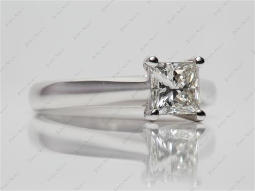 White Gold 0.92 Princess cut Solitaire Ring Mountings