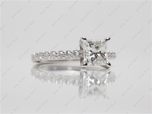 White Gold 1.07 Princess cut Engagement Ring