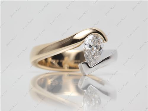 White Gold 0.77 Pear shaped Tension Ring