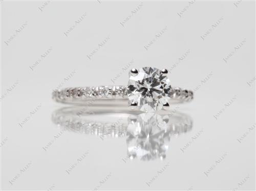 White Gold 0.69 Round cut Pave Ring
