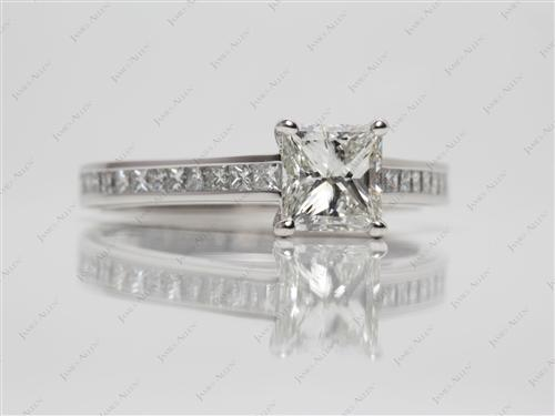Platinum 1.21 Princess cut Channel Set Diamond Rings