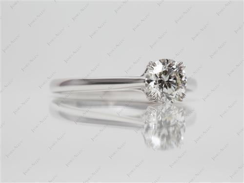 White Gold 0.80 Round cut Diamond Solitaire Ring Settings
