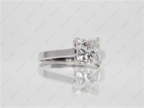 White Gold 1.87 Princess cut Solitaire Engagement Ring