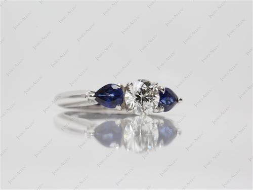 White Gold 0.66 Round cut Sapphire Engagement Rings
