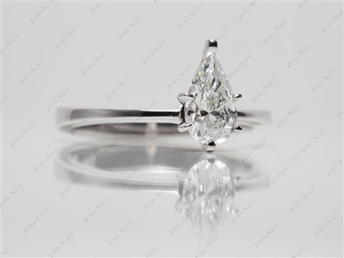 White Gold 0.87 Pear shaped Diamond Solitaire Ring Settings