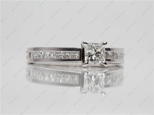 White Gold 0.53 Princess cut Channel Engagement Rings