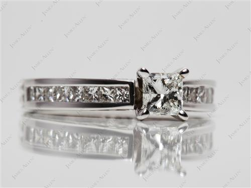White Gold 0.50 Princess cut Diamond Wedding Sets