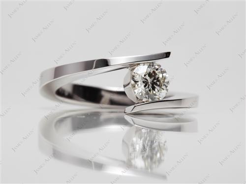White Gold 0.50 Round cut Solitaire Engagement Rings