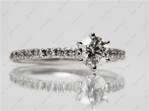 White Gold 0.80 Round cut Pave Ring Set