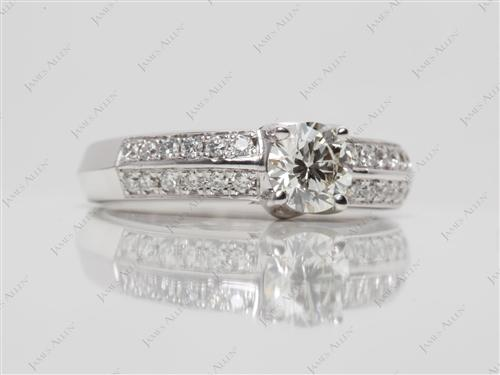 White Gold 0.45 Round cut Diamond Pave Rings