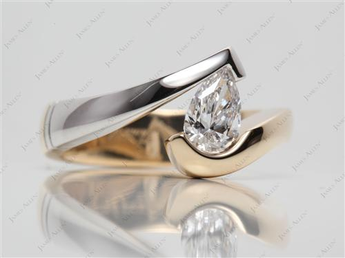 White Gold 0.74 Pear shaped Tension Setting Engagement Rings